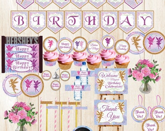 FAIRY Party Decorations, Printable Fairy Party, Fairy Banner,Fairy Birthday,Fairy Garden Party,Instant Download Fairy Decorations