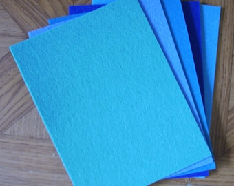 5 felt 3mm blue size 15x20cm monochrome plates