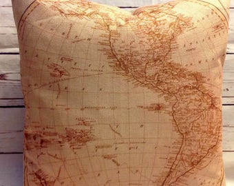 World map pillow etsy world mapfeather pillow insert and cotton linen cover 1818 free shippingp world gumiabroncs Choice Image