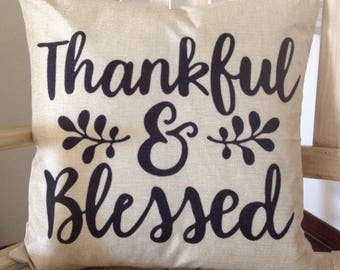 Thankful&Blessed Feather pillow insert and Cotton Linen Cover, 18×18, Free Shipping..