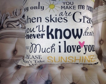 You are my sunshine ,Feather pillow insert and Cotton Linen Cover,   18×18, Free Shipping..