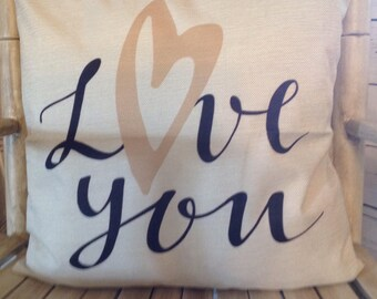 Love you pillow cover and Feather pillow insert and Cotton Linen Cover, 18×18, Free Shipping..