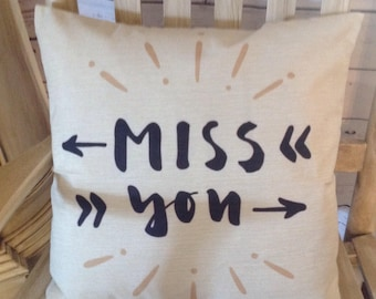 Miss you pillow cover and Feather pillow insert and Cotton Linen Cover, 18×18, Free Shipping..