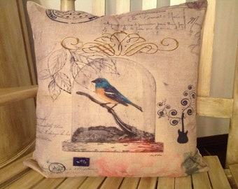 Bird in a cage Pillow, Duck Feather pillow insert and Cotton Linen Cover, 18×18, Free Shipping.  Bird  Pillow