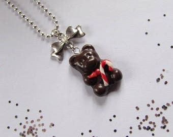 """Santa bear"" necklace with polymer clay."