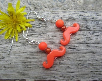 "Earrings ""p'tites whiskers"" (ORANGE) - mustache, neon beads"