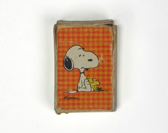 Vintage Mini Snoopy Playing Cards.  Circa 1970's / Gingham Plaid