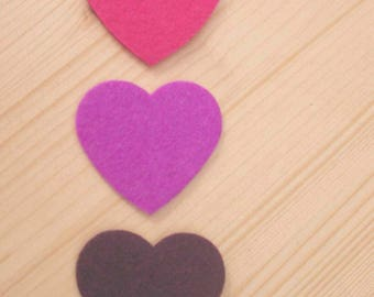 set of 3 hearts felt #3