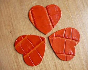set of 3 hearts leather croco rust n ° 2