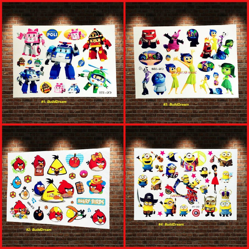 Robocar poli angry birds despicable me temporanea tattoo etsy