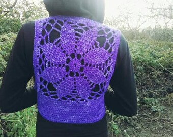 Bright Purple Crochet Mandala Vest