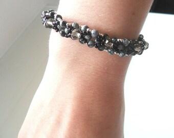 bracelet pierres obisiennes et perles cristal