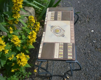 Metal and mosaic coffee table