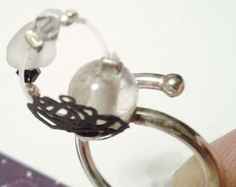 """925 Silver ring, glass bead """"Compass 7"""""""