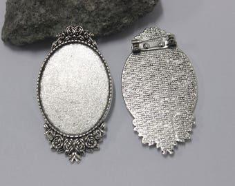 1 brooch support(medium) cabochon 30 x 40 mm oval baroque silver aged