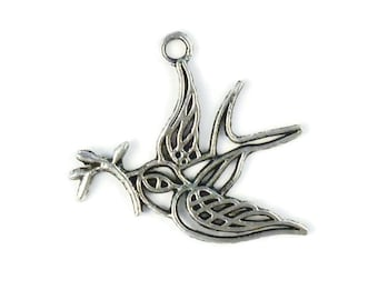a silver swallow pendant peace