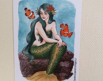 Green Mermaid / Sirène Verte - Print / Impression - A4