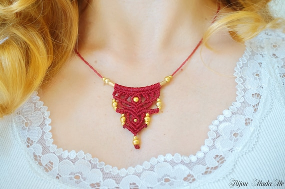 Winter holiday handmade macrame necklace Bohemian style choker for women colors and ethnic gold beads gift for women gypsy jewelry gifts
