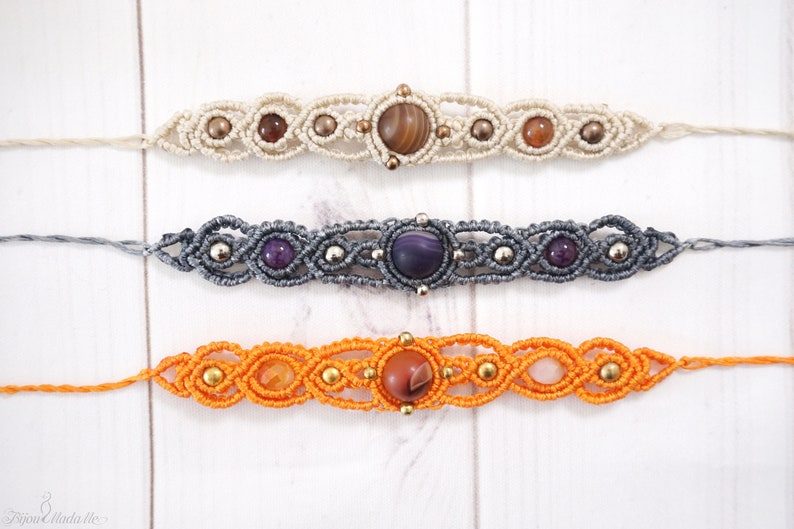 Macrame boho Bracelet Agate Gemstone All Chakras Tribal Bracelet Birthstone jewelry Bohemian Spiritual Jewelry Healing Crystal bracelet