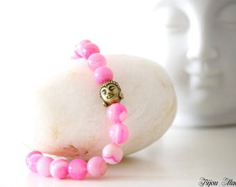 Anniversary gifts for her. Meditation gemstone mala bracelet. Agate bracelet. Yoga Buddhist jewelry. Buddha head bracelet. Woman gift.