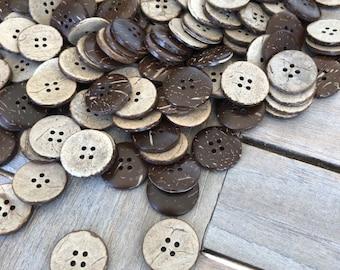 20 Stück echt Kokosnuss Knöpfe 4Loch beige braun in 3 Grössen