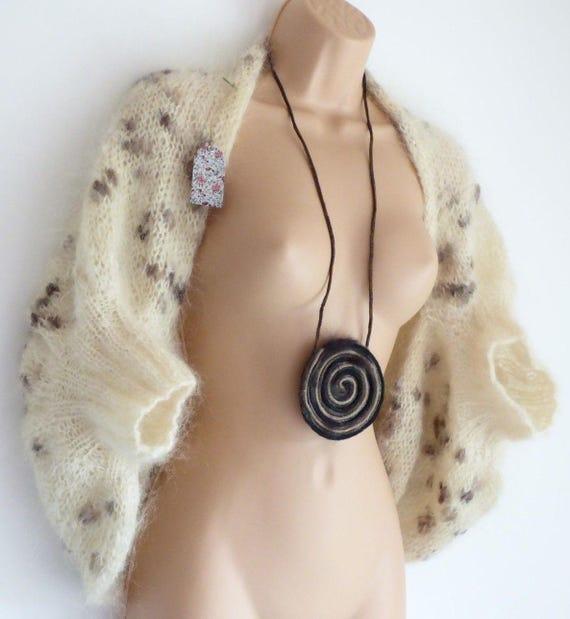 UK8 UK12 Handmade Cardigan Knitted Size Bolero New DAIVA'S Cream STUDIO Mohair UK10 Women's zZPnEyqOn