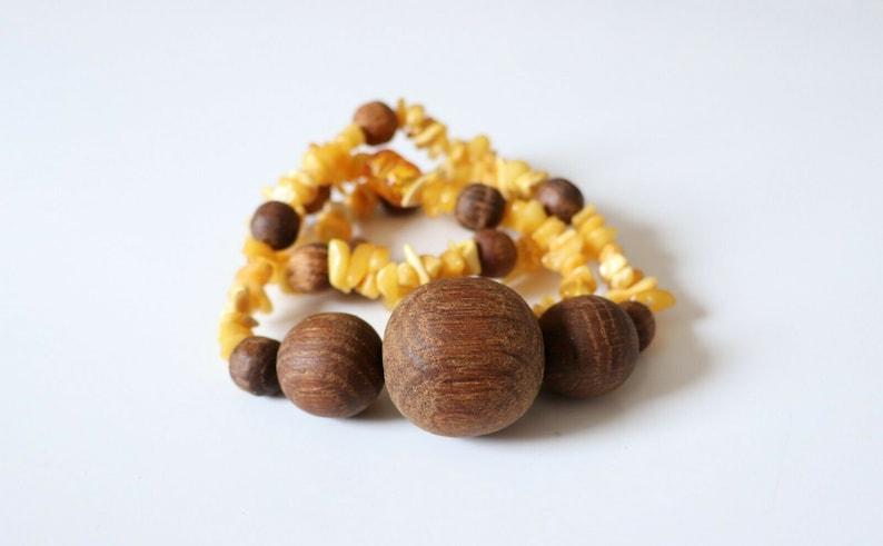 Unisex Men/'s Women/'s Handmade Vintage Folk Art Wood Oak Beads /& Baltic Amber Pendant Necklace Size 23.5 in New