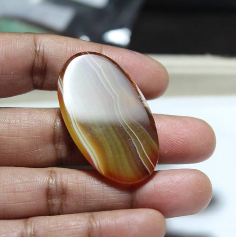 Jewelry Supply- Semi Precious Orange Gemstone Banded Agate 42 x 23 Oval Pendant Orange Agate Pendant Gemstone Pendant mm#3752