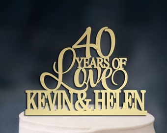40 Years Of Love Cake Topper,40th wedding anniversary cake topper, Happy 40th Anniversary, Custom Cake Topper,Two Names Cake Topper