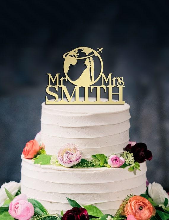 Acrylic Mrs And Mrs Traveling Themed World Map Wedding Cake Topper Decoration
