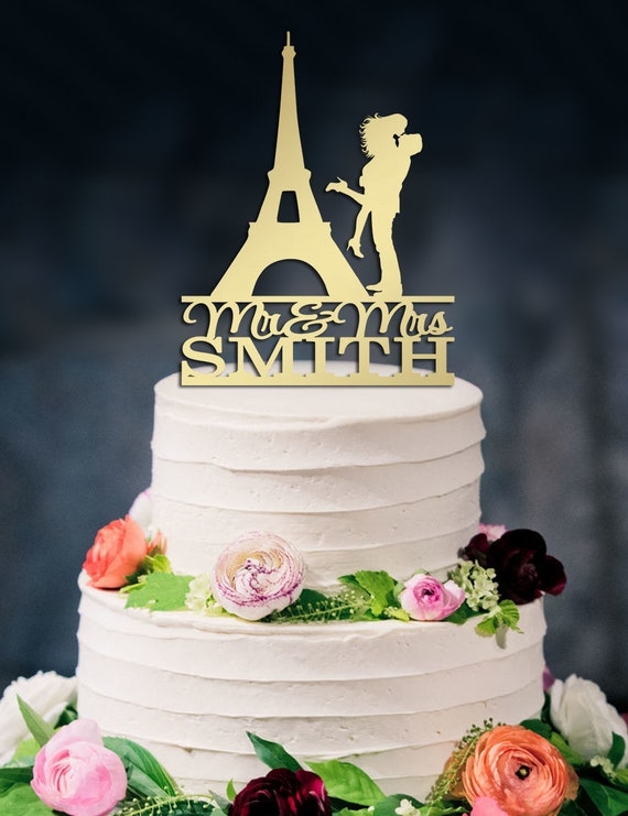 French Wedding Cake.Eiffel Tower Wedding Cake Topper Kissing Couple Silhouette Custom Mr And Mrs Cake Topper Paris Cake Topper French Wedding