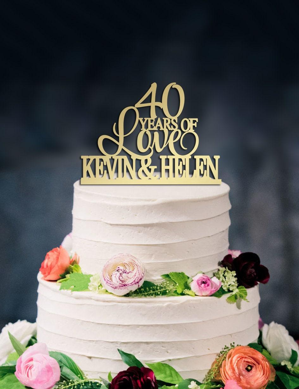 40 Ans Damour De Gâteau 40e Anniversaire De Mariage Cake Topper Happy 40e Anniversaire Gâteau Personnalisé Deux Noms De Gâteau