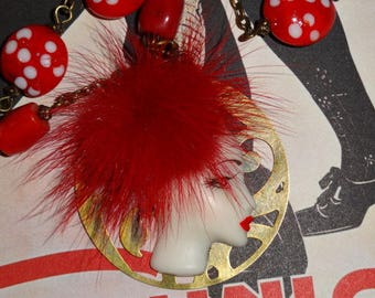 Toque Hat! (red and white necklace)