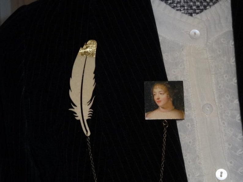 double brooch with clip Writers Madame de S\u00e9vign\u00e9