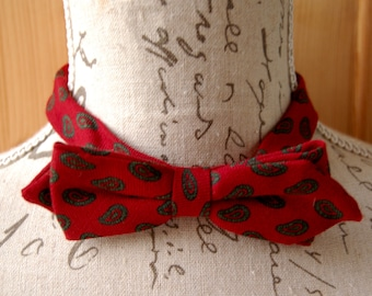 Bow tie red burgundy Paisley