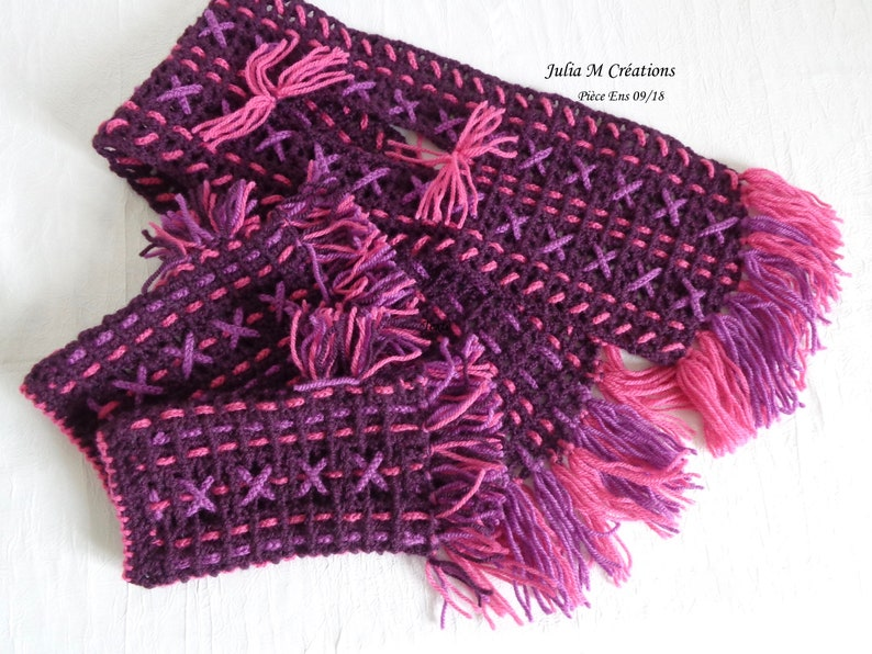 prix pas cher meilleur 100% authentifié ALL MITAINE ECHARPE for women and teenagers - made from plum/mauve/pink  wool crochet