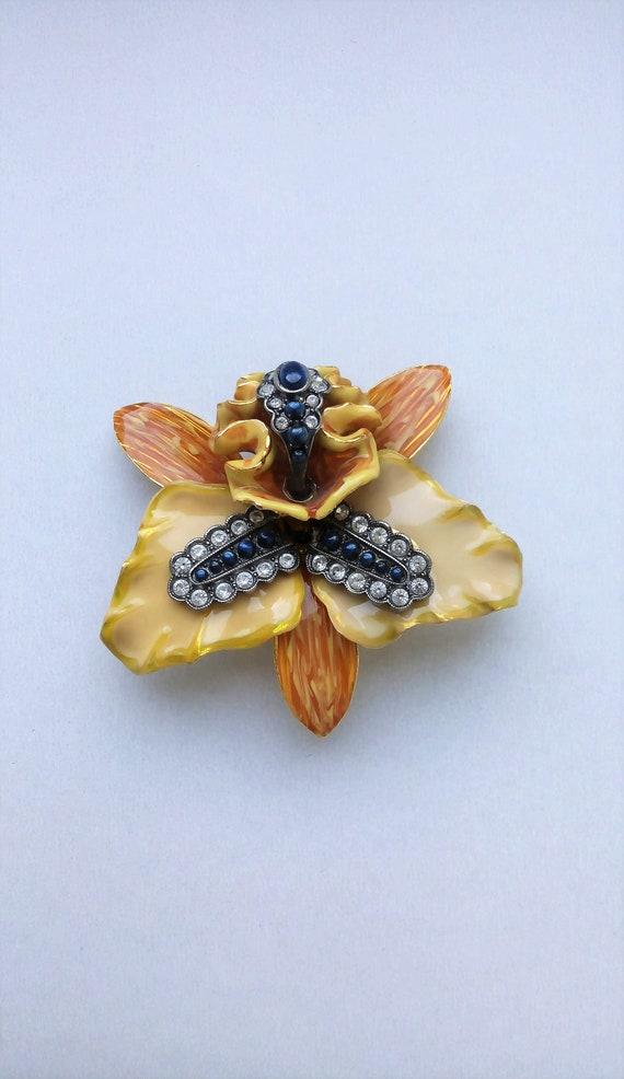 Joan Rivers vintage orchid flower enamel orange an