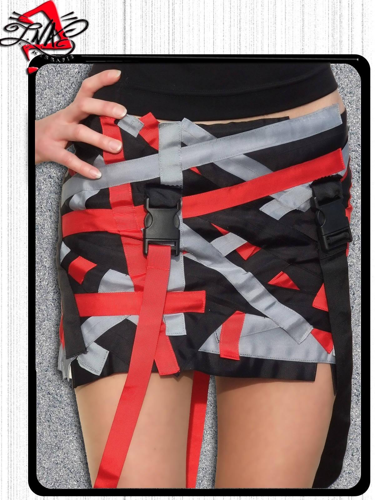 mini jupe bretelles pour femme rouge noire et grise etsy. Black Bedroom Furniture Sets. Home Design Ideas