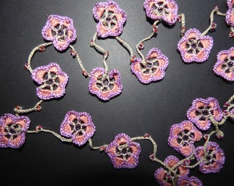 "long necklace or sautoir ""Pansies"" cotton crochet and beads"