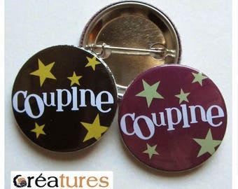 Badge Coupine stars black or plum 38mm