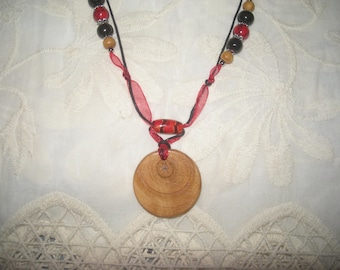 Necklace cherry pendant and beads