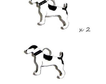 2 charms dog motif black and white enamel