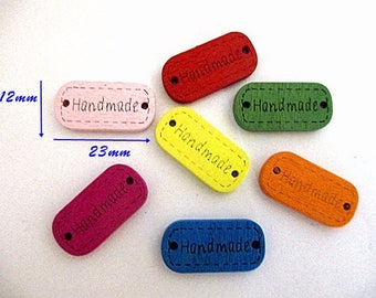 7 wood connectors Hand Made multicolored buttons
