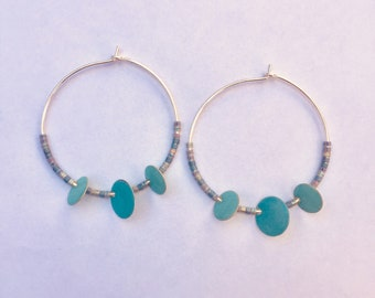 Silver hoops, sequins and beads miyuki