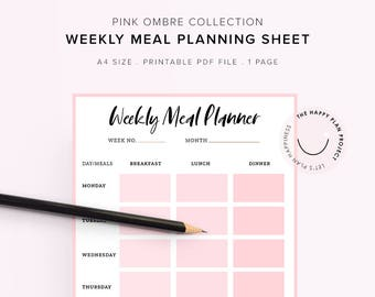 meal plan sheets etsy