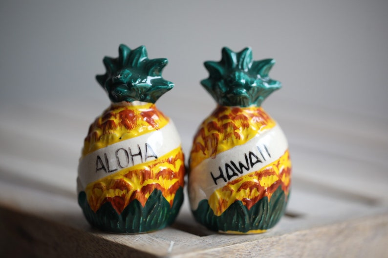 Vintage Retro Pineapple Hawaii Salt & Pepper Shakers image 0