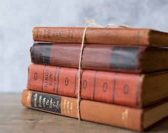 Vintage Antique Book Set Stack (set of 4) Red | Rustic Home Decor | Wedding Decor | Decorative | Library | Farmhouse Decor