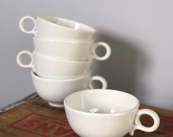Vintage White Speckled Coffee Tea Cups (set of 5)