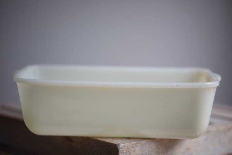 Vintage Fire King White Opal Loaf Pan image 0