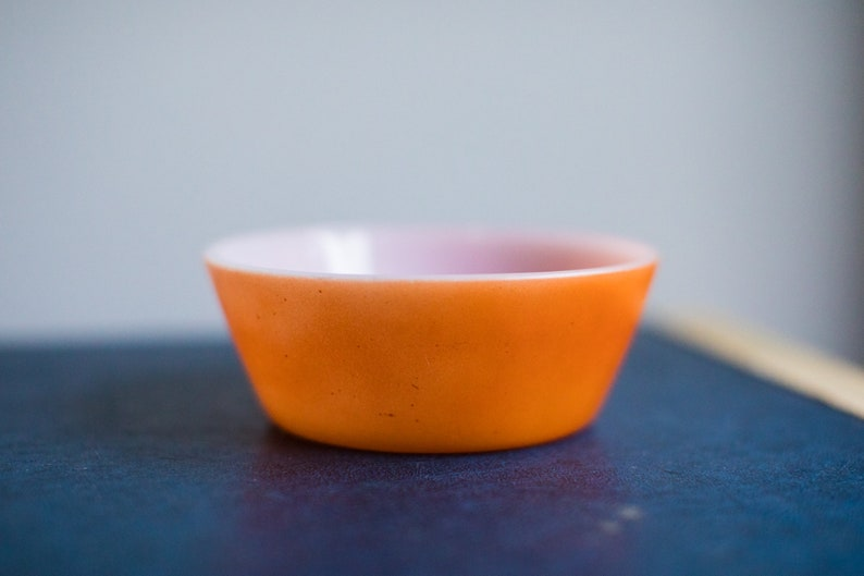 Vintage Federal Glass Small Cereal Soup Bowl Orange Bowl image 0